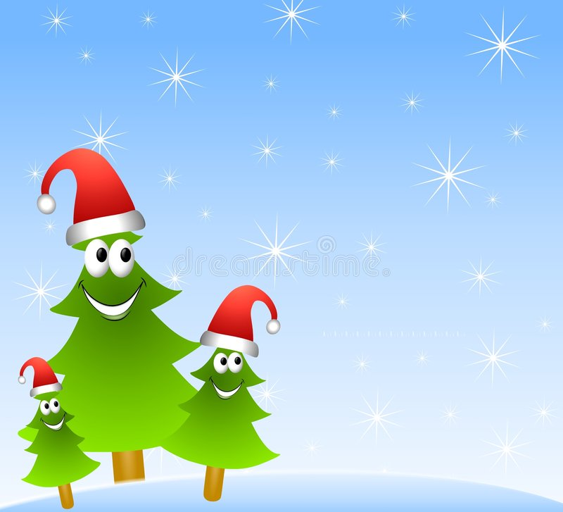 Cartoon Christmas Tree Group. An illustration featuring a group of cartoonish trees wearing red hads and smiling set against blue stock illustration