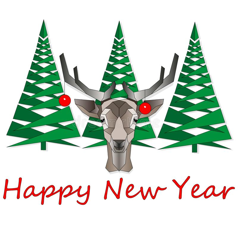 Cartoon Christmas vector illustration isolated on white. Funny happy deer character. For Christmas cards, banners, tags and labels vector illustration