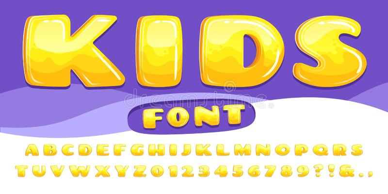 Cartoon chubby font. Kids game alphabet, child cartoons bubble lettering and cartoony fonts numbers vector illustration. Cartoon chubby font. Kids game alphabet vector illustration