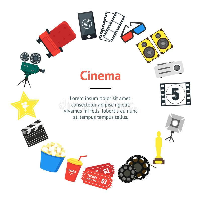 Cartoon Cinema Banner Card Circle. Vector stock illustration