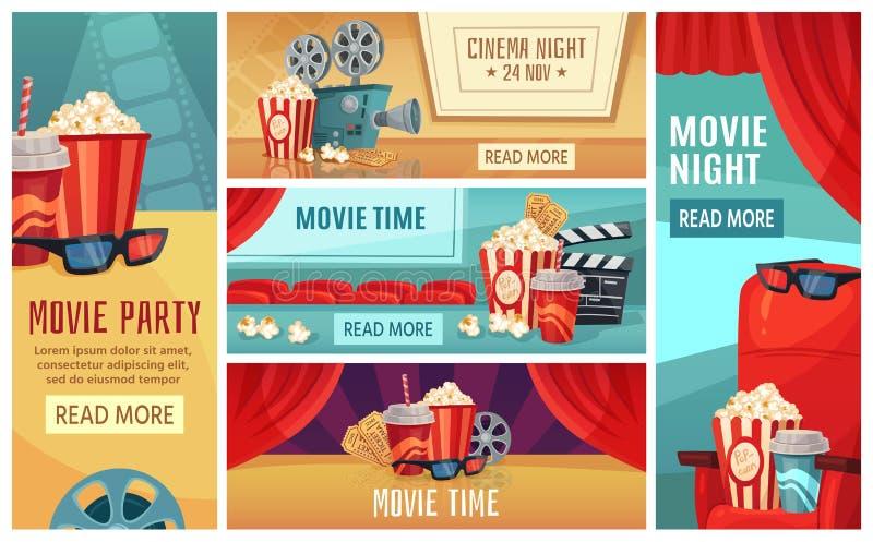 Cartoon cinema banner. Movie night tickets, cinemas popcorn and 3d film projector banners vector illustration set royalty free illustration