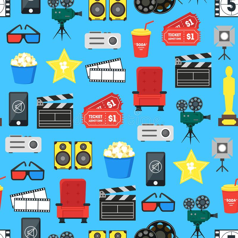 Cartoon Cinema Color Element Background Pattern on a Blue. Vector vector illustration