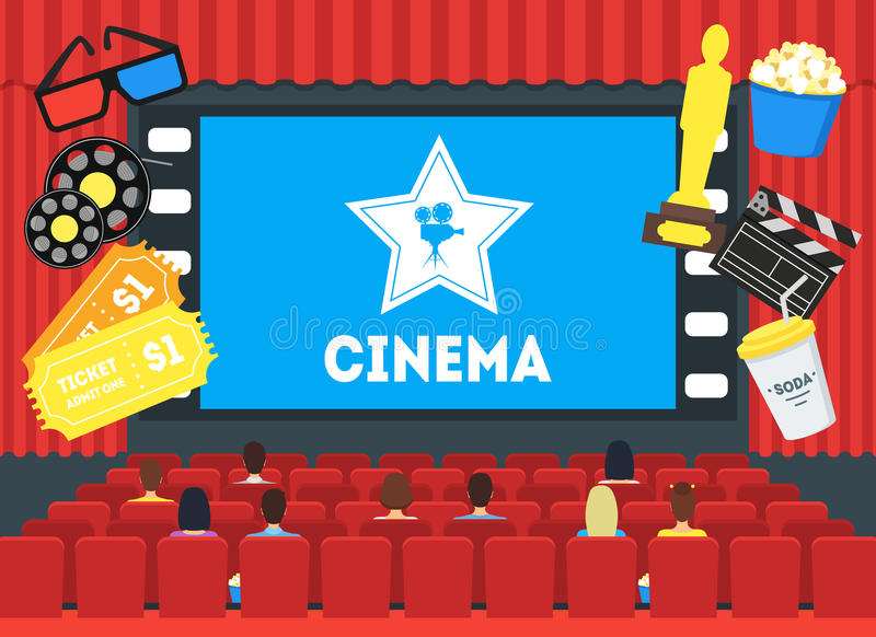 Cartoon Cinema Concept Interior. Vector. Cartoon Cinema Concept Auditorium Interior with Movie Screen Public Flat Style Design. Vector illustration vector illustration