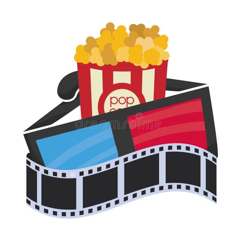 cartoon cinema 3d glasses pop corn film strip vector illustration