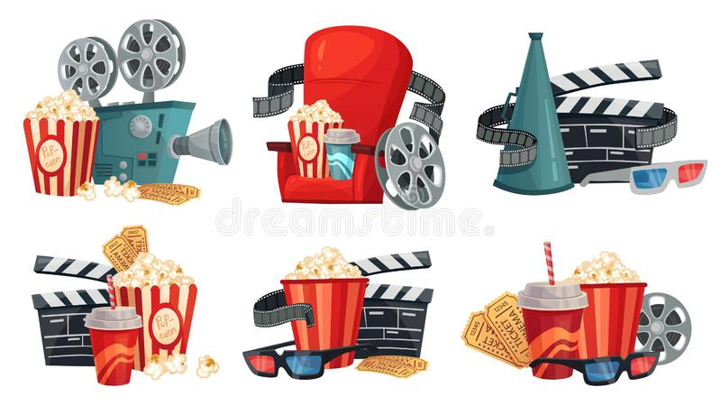 Cartoon cinema. Movie projector, 3d cinema glasses and vintage film camera illustration vector set royalty free illustration