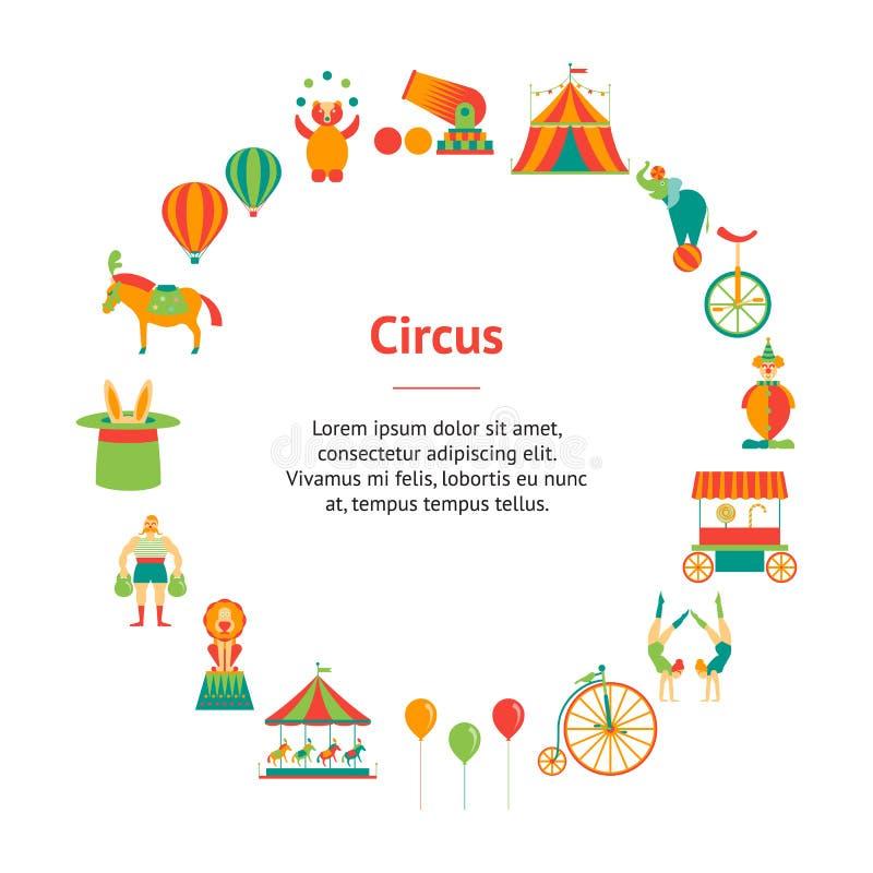 Cartoon Circus Banner Card Circle. Vector vector illustration