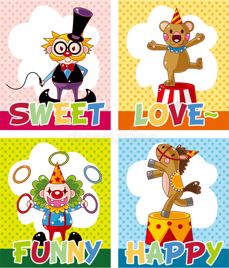 Download Cartoon circus card stock vector. Image of cute, child - 21169996