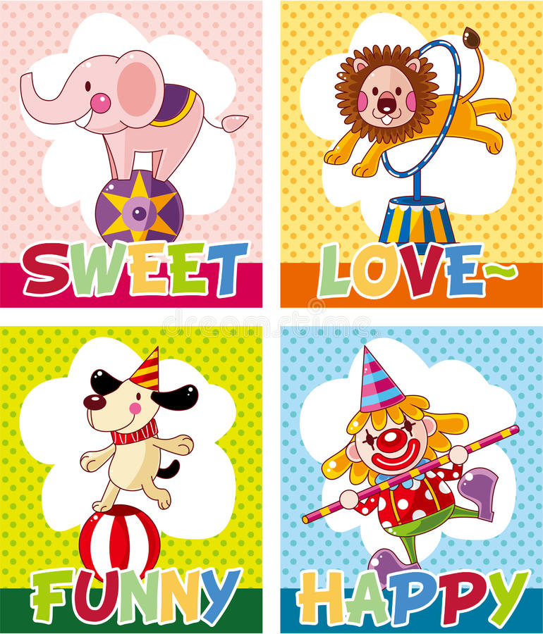 Download Cartoon circus card stock vector. Image of celebrate - 21170002