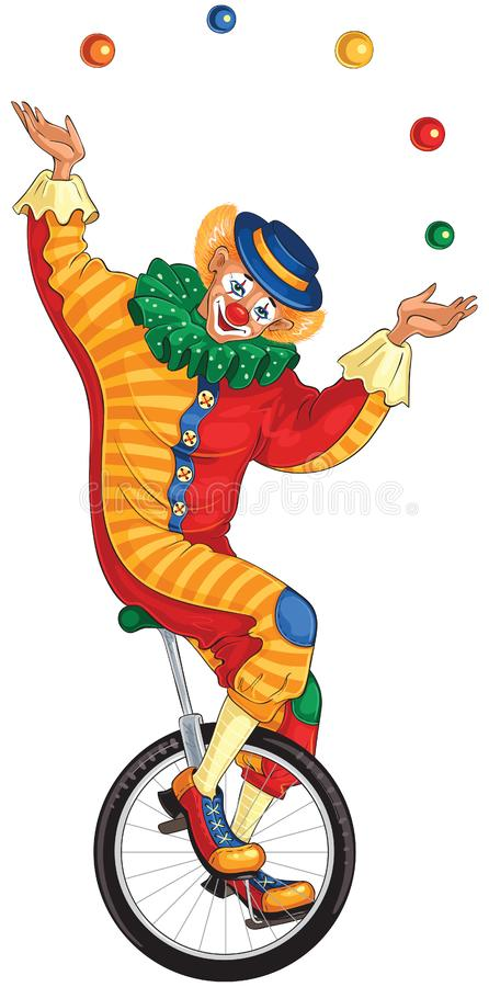 Free Cartoon Circus Clown Juggling Balls On Unicycle Royalty Free Stock Photos - 124606178