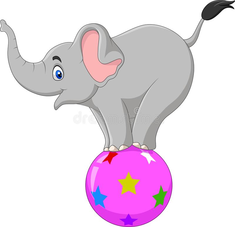Free Cartoon Circus Elephant Standing On A Ball Stock Photo - 148916160