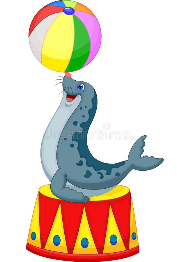 Cartoon Circus seal playing a ball vector illustration