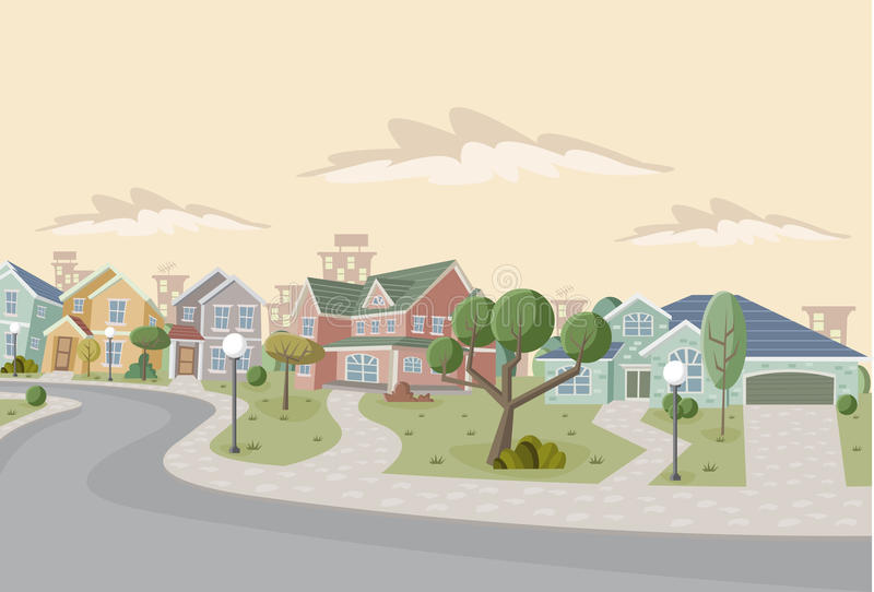 Cartoon city. Colorful retro suburb neighborhood. Cartoon city