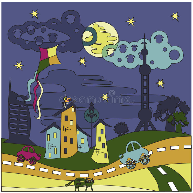 Cartoon_City lizenzfreie abbildung