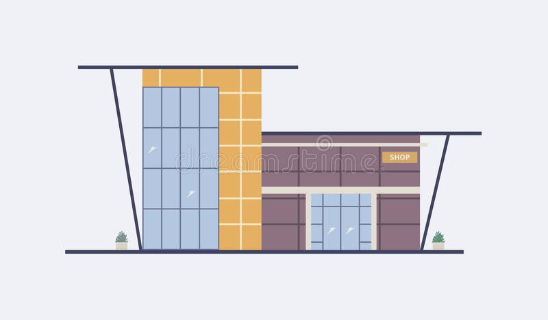 Cartoon City Building Of Shopping Mall With Large Panoramic Windows