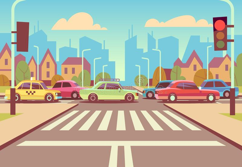 Cartoon city crossroads with cars in traffic jam, sidewalk, crosswalk and urban landscape vector illustration stock illustration