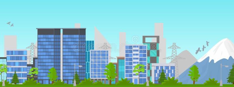 Cartoon City Panorama Summer Outdoor Scene. Vector vector illustration