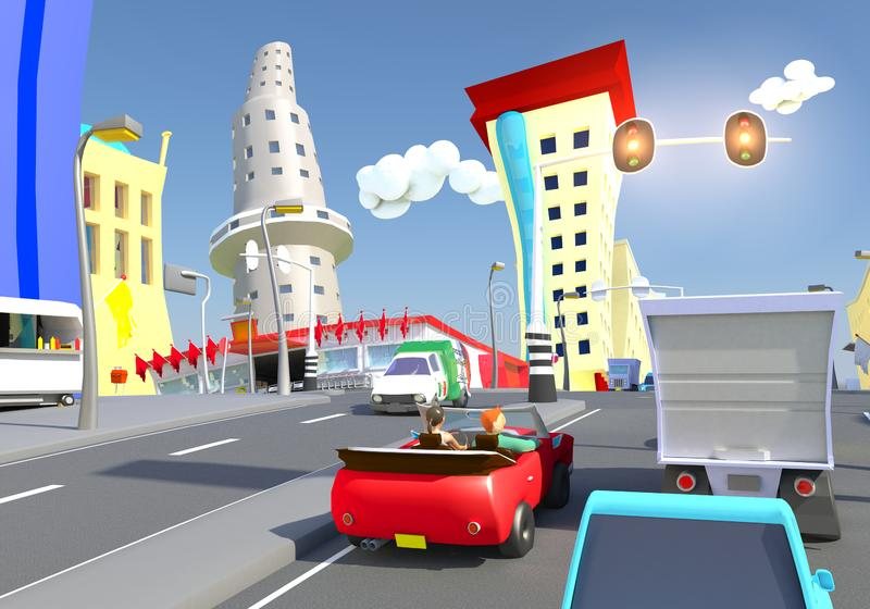 Cartoon city traffic on a crossing with traffic lights. Stylized 3D Cartoon city traffic on a crossing with traffic lights and supermarket, between some vector illustration