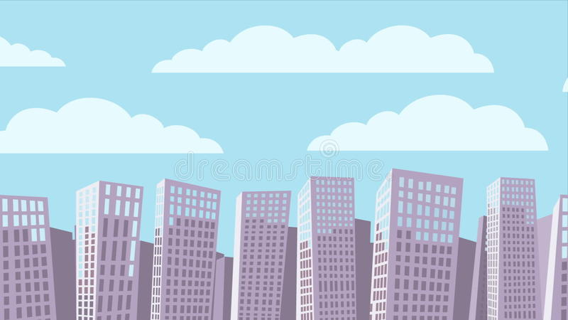 Cartoon Cityscape Background Animation Stock Video Video Of