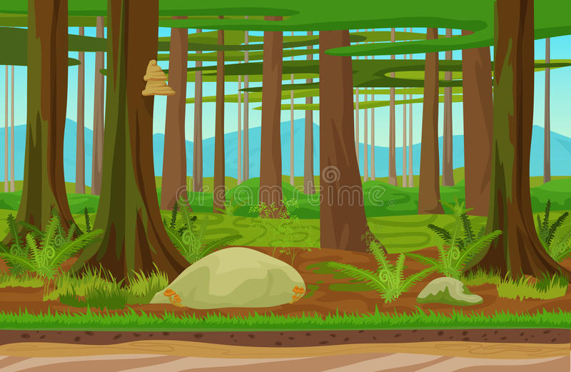 Cartoon classic forest woods landscape with trees, grass and stones. Mountains hills on the background. Landscape for stock illustration