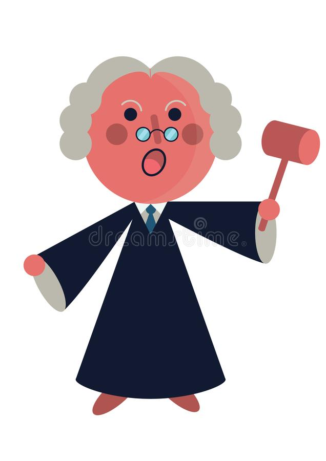 Shouting judge on court holding a hammer stock illustration