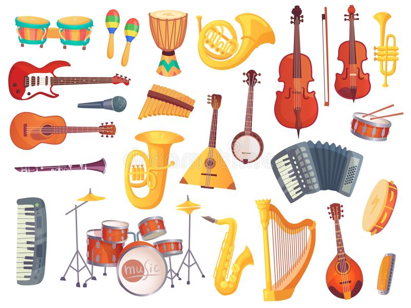 Cartoon musical instruments, guitars, bongo drums, cello, saxophone, microphone, drum kit isolated. Music instrument stock illustration