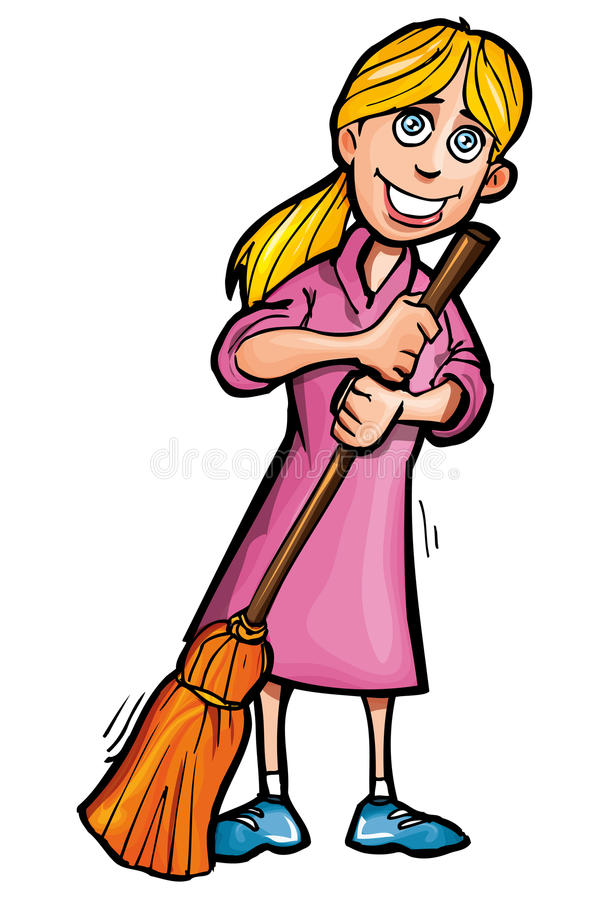 Cartoon Cleaner With A Broom Stock Vector Illustration