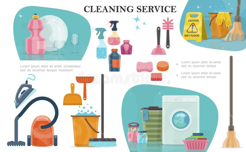 Cartoon Cleaning Service Composition. With mop broom spray bottles washer basket of towels brushes sponges soap bucket gloves hoover iron washing powder vector royalty free illustration