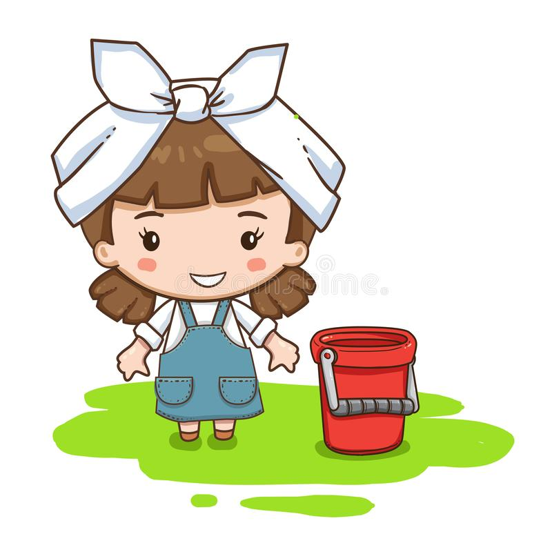 Cartoon cleaning service girl in formal clothes and headscarf. Vector illustration of cute chibi character isolated on white background. Cartoon cleaning stock illustration