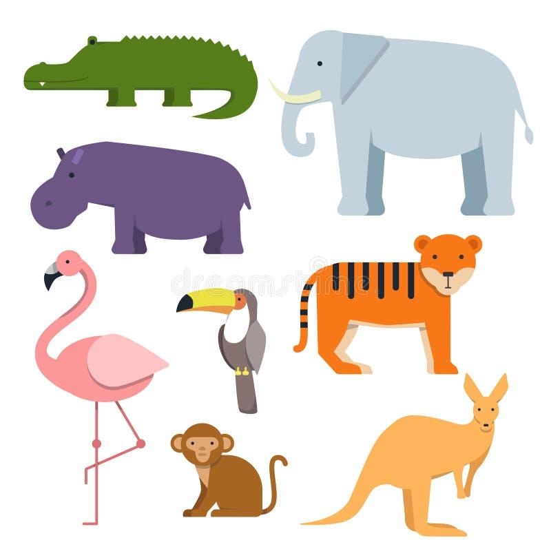 Cartoon clipart of wild animals. Australian fauna vector illustration