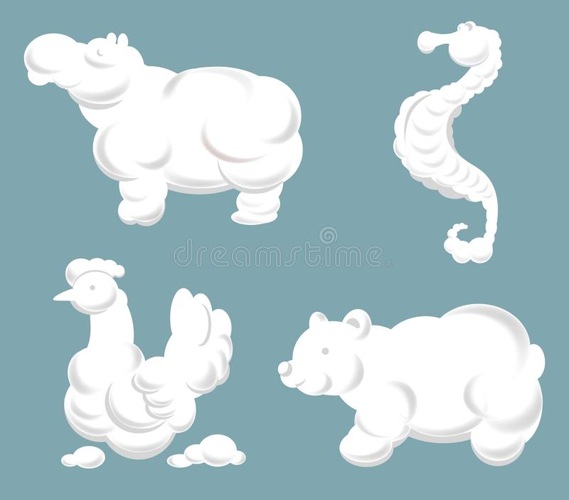 Cartoon cloud animal and birds silhouettes vector. royalty free illustration