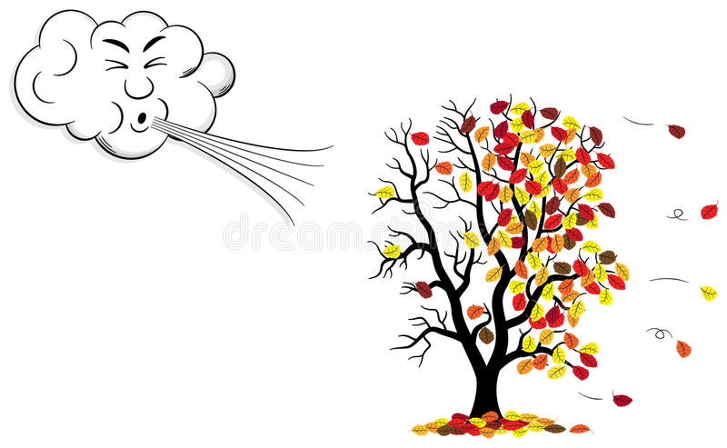 Cartoon cloud that blows wind to a tree who loses fall foliage. Vector illustration of a cartoon cloud that blows wind to a tree who loses fall foliage vector illustration