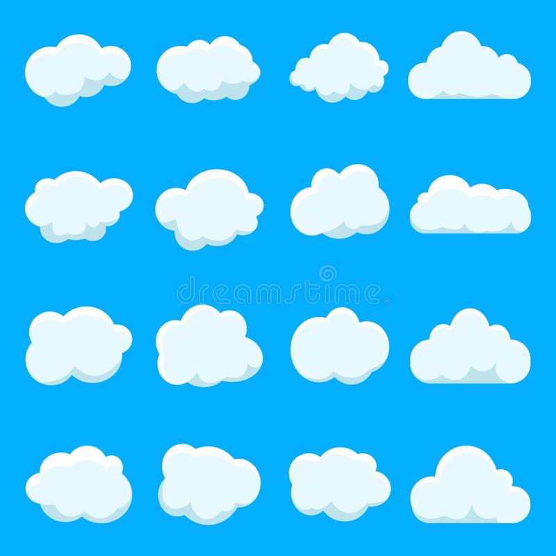 Cartoon cloud of sky on blue background.Graphic heaven in vintage style.Flat collection of blue cloud. Set icons of cloud shape. stock illustration
