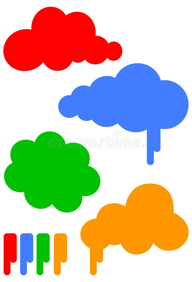 Cartoon cloud vector illustration set royalty free stock images