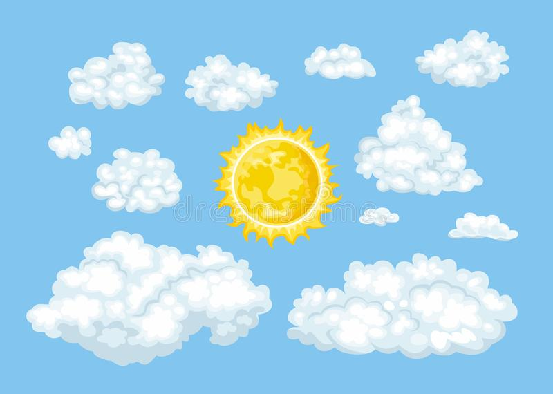 Cartoon clouds of different shapes and sun set. Ð¡loudy blue sky stock illustration
