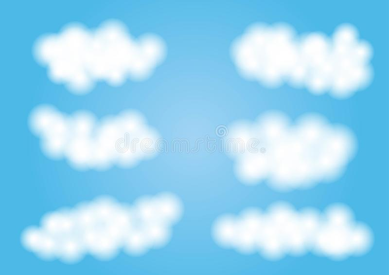 Cartoon clouds isolated on blue sky panorama vector collection. Cloudscape in blue sky, white cloud illustration royalty free illustration