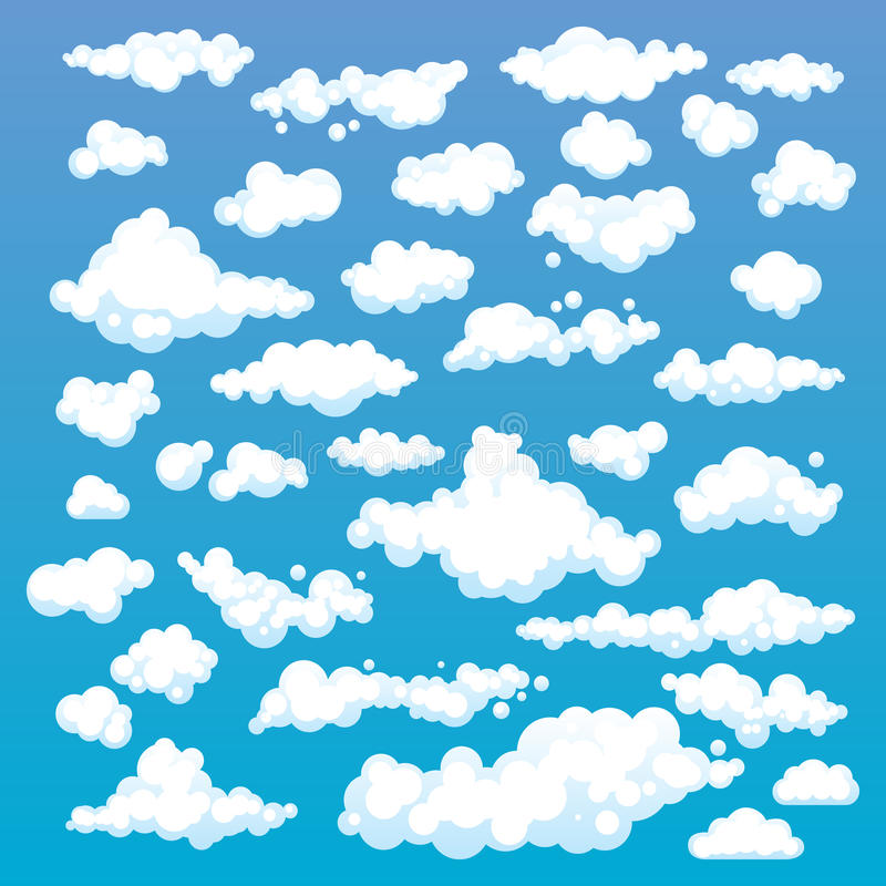 Cartoon Clouds Set On Blue Sky Background. Set of funny cartoon clouds, smoke patterns and fog icons, for filling your sky scenes royalty free illustration