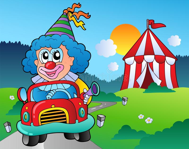 Download Cartoon Clown In Car Near Tent Royalty Free Stock Photos - Image: 19220718