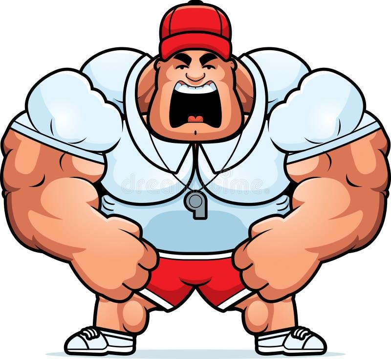 Cartoon Coach Yelling. A cartoon illustration of a muscular coach yelling stock illustration