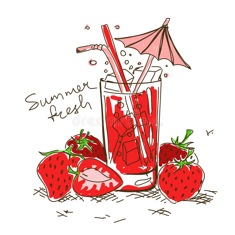 Cartoon cocktail with strawberry stock illustration