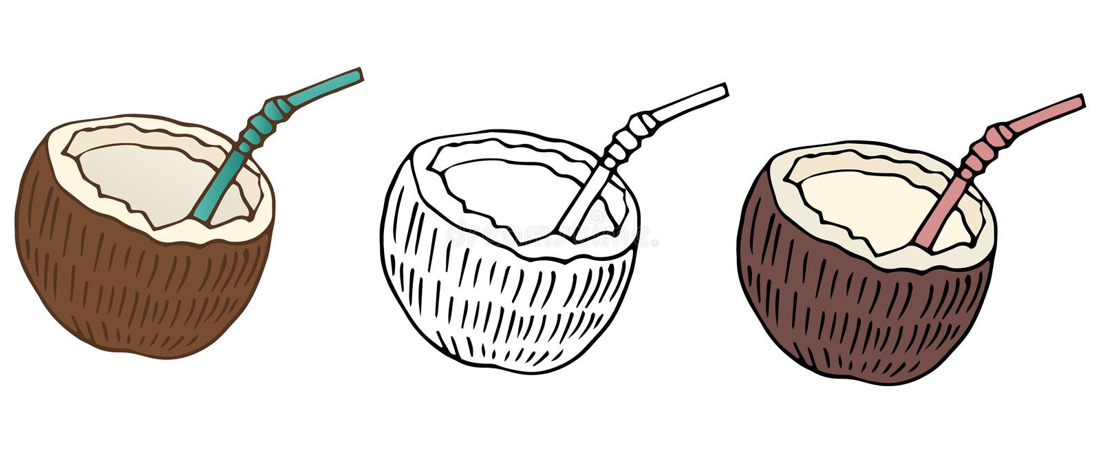 Cartoon coconuts color cafe set nature hand draw food art royalty free illustration