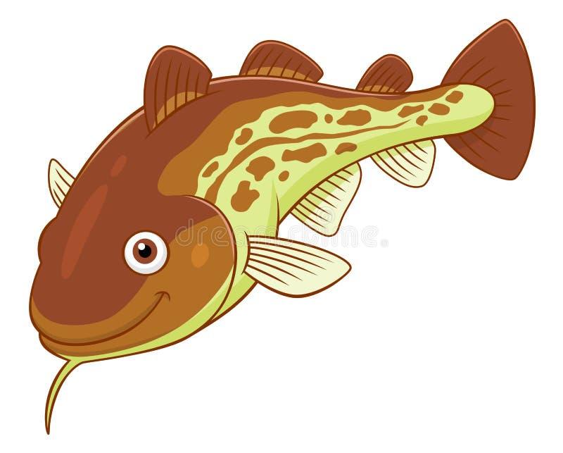 Cartoon cod. Cartoon cute cod on white background stock illustration