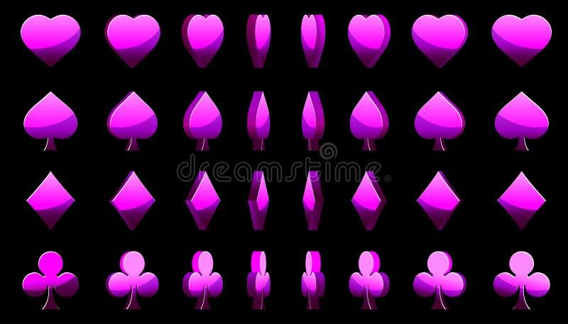 Violet 3D symbols poker cards, vector animation game rotation vector illustration