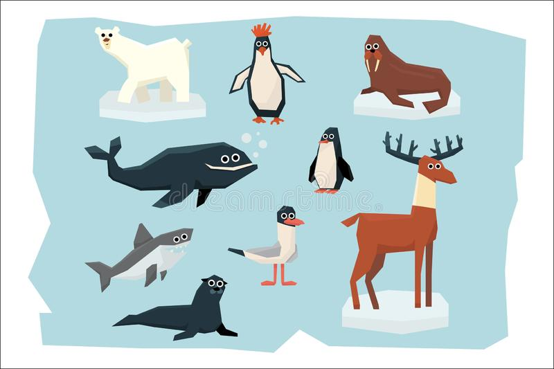 Cartoon collection of different Arctic and Antarctic animals. Polar bear, penguin, albatross, reindeer, seal, walrus. Shark and whale. Colorful flat vector royalty free illustration