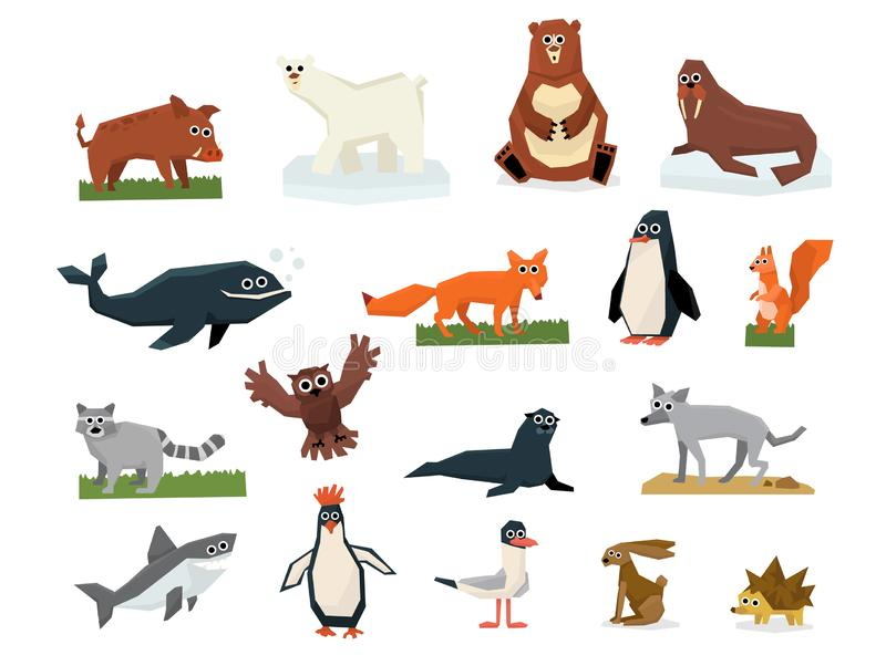Cartoon collection of different Arctic and Antarctic animals. Polar bear, penguin, albatross, reindeer, seal, walrus. Shark and whale. Colorful flat vector stock illustration