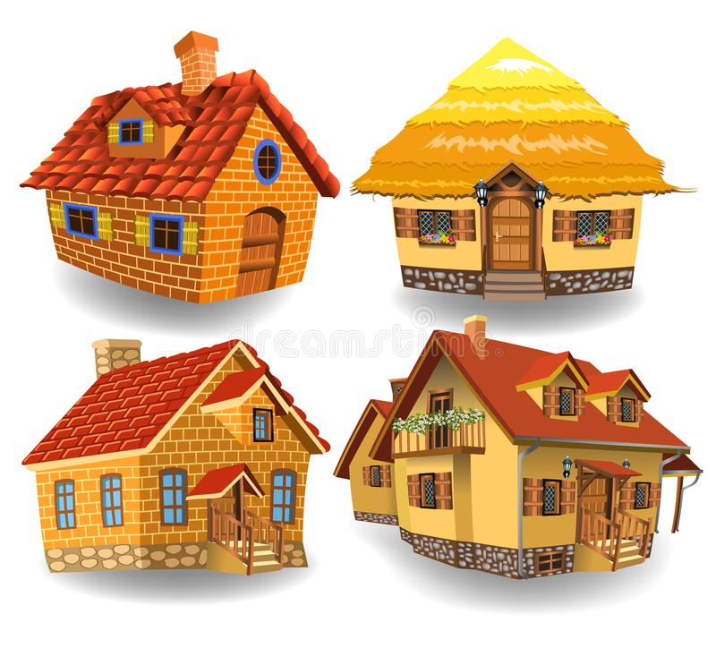 Cartoon collection of four fairy tale houses vector illustration