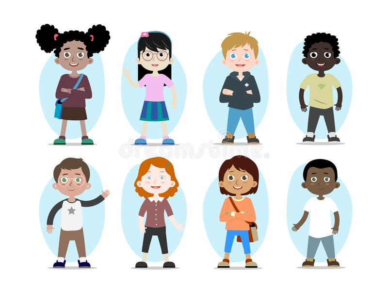 Vector children characters of different races. Cartoon collection of kids characters, various human races. Vector children personages of different nationalities royalty free illustration