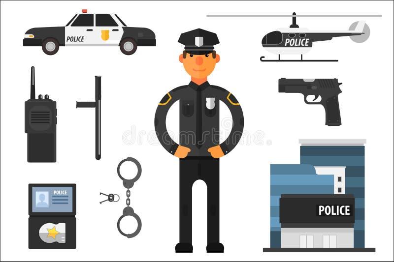 Cartoon set of police attributes. Officer, gun, baton, automobile, badge, helicopter, handcuffs, keys, portable radio stock illustration