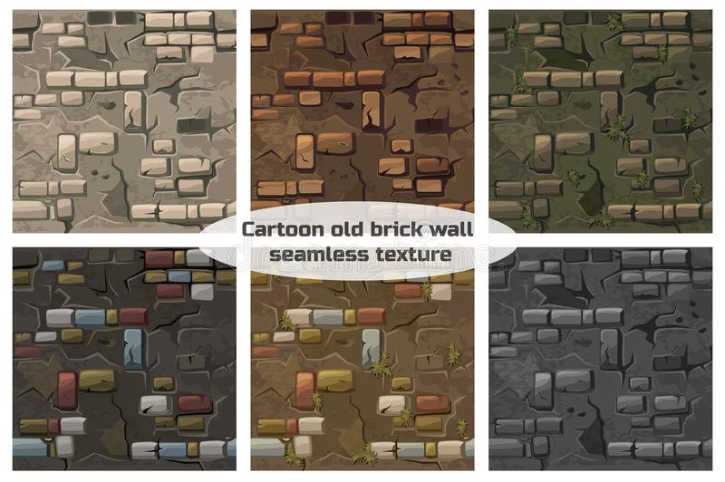Collection seamless pattern texture old crack brick wall royalty free illustration