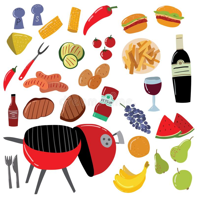 Cartoon Color Barbeque Picnic Elements Set. Vector. Cartoon Color Barbeque Picnic Elements Set Include of Grill, Sausage, Meat, Vegetable, Fork and Sauce. Vector vector illustration