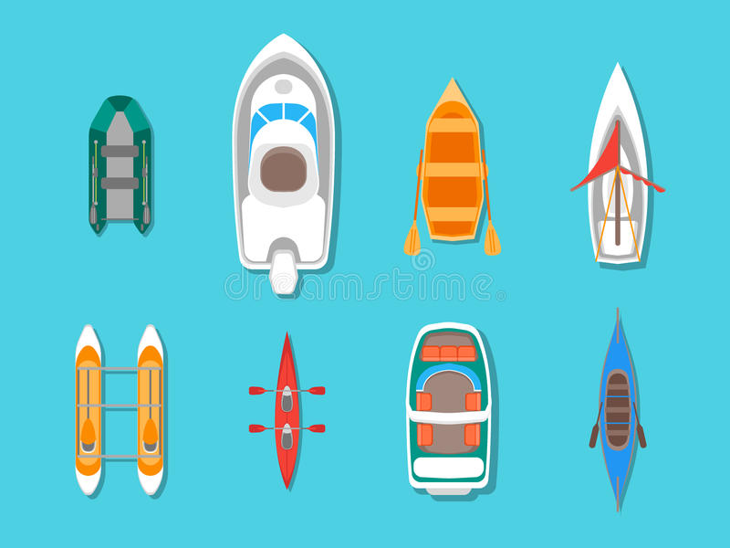 Cartoon Color Boats Icons Set Top View. Vector royalty free illustration